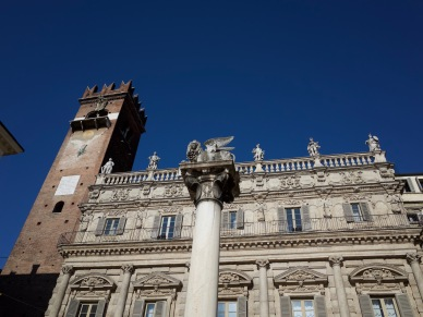 Lion of Venice rules over the Piazza Erbe.