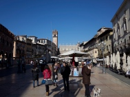 Once the Roman forum, the Piazza Erbe is where the story starts.