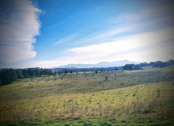 Caffarella park, the Alban Hills in the distance